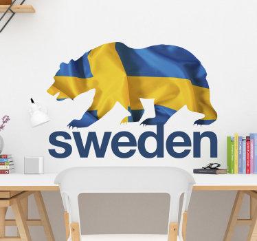 Lätt att tillämpa design dekaler av en kära i ett sverige flagg mönster som du kommer att älska. Den kära skapas i en guldgul och blå färg av sverige.