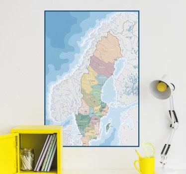 Lätt att applicera väggkarta klistermärke av sverige skapat på en mycket härlig färgstark bakgrund som visar det städer och geografiskt läge.