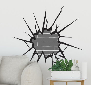 Easy to apply decorative home wall art decal of visual effect appearance an exposed bricked in 3D to beautify the living room in movie style.
