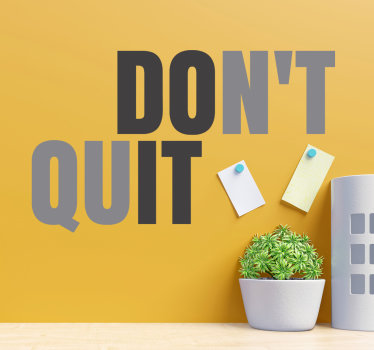 Easy to apply adhesive home wall  decal with the motivational text '' don't give up'' in multi colour that will beautify your wall with simplicity.