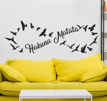 Easy to apply living room wall decal of the popular Hakuna Matata quote from movie with birds flying all around forming a shape.