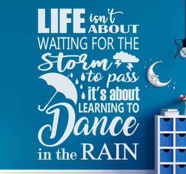 Easy to apply wall home decal with text that motivate ''about the rain' . This design can be in any colour hat you prefer and it is easy to apply.