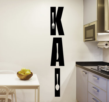 Easy to apply kitchen wall sticker of food text  with cutlery to decorate your kitchen and you can chose it in any colour you prefer.