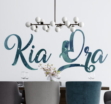 Easy to apply wall home decal of text '' Kia Ora'' in a graphical and stylish appearance you will love on the surface of your wall at home.