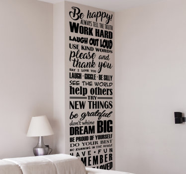 Home wall decal of text about life rules that you can have in any colour of your choice to decorate your home.Easy to apply.