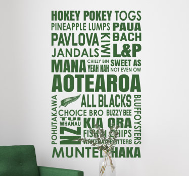 Easy to apply decorative wall decal of text containing location places of new Zealand that you can have in any colour you prefer.