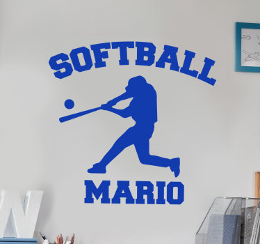 Easy to apply wall art decal of a soft ball player in silhouette style with any name that you want on it. You can have it in any colour you prefer.