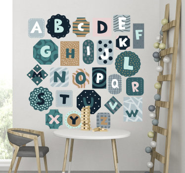 Easy to apply decorative alphabet bedroom wall sticker in different background shapes and colour to beautify the wall and a learning tool for kids.