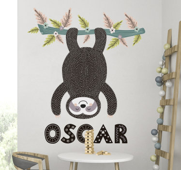 An original vinyl animal wall sticker for children room design of animal playing on a tree in an upside down position that any child would love.