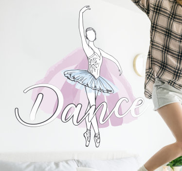 Easy to apply wall art decal of a dancing ballet dancer in her costume and an amplified text that says ''dance' You can chose the size you want.