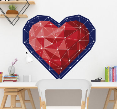 Decorative and easy to apply wall decal of a heart with connecting lines that form geometric irregular surface on in. You can have it in any size.