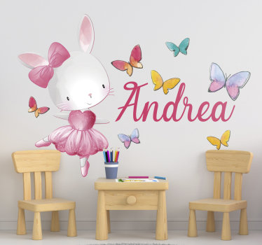 Easy to apply wall decal for kids designed with a ballerina dancer in a cat style and pretty butterflies all around to add some energy for the day.