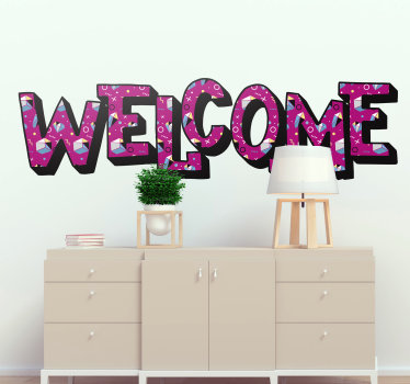 Easy to apply wall text decal with the content '' welcome'' in a Memphis style of to decorate the wall surface of the living or bedroom.