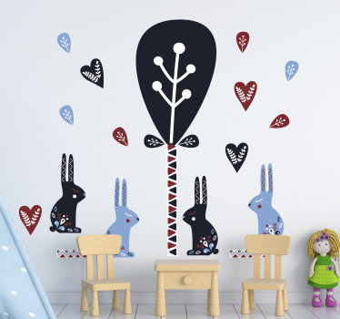 Decorative kids room animal wall sticker of Nordic animal that has rabbits and trees all in pretty colour to beautify the wall surface .