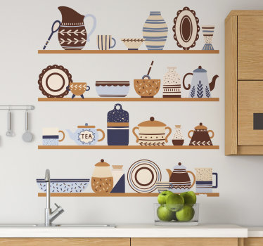 Decorate your kitchen wall with this wall decal of kitchen shelf that features a lot of decorative utensils . Easy to apply.