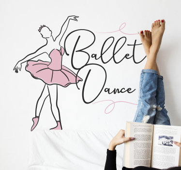 Decorate your wall with this dancing girl silhouette in pink dress. On the design is seen the girl swinging in the dance style of ballet.