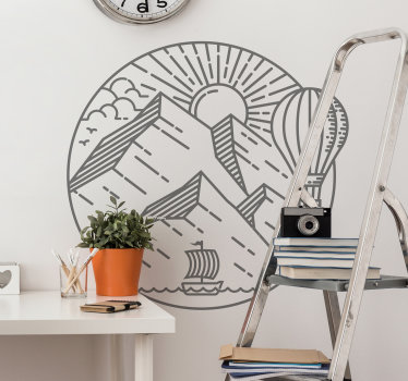 Apply our self adhesive wall decal of a calm natural design of the sun and all the featured you need to enjoy a great sunny day on a round surface.