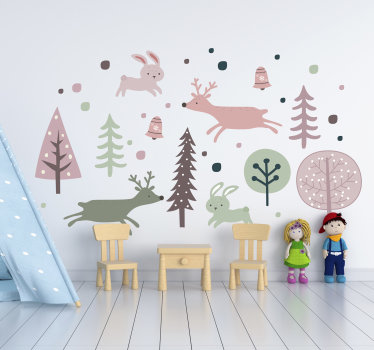 Self adhesive wall decal for kid's room created in Nordic style with animals and trees. This design is created in colours that appeals to kids.