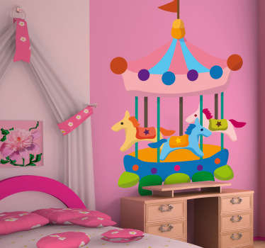 A creative sticker illustrating a colourful funfair carousel. Ideal to decorate your child's room or play area more cheerful.