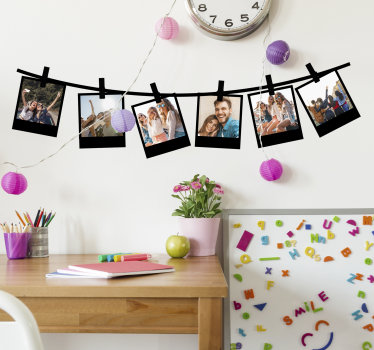 Make a family album collection on our Polaroid photo frame wall sticker and have the wall surface looking pretty with the photos on it .