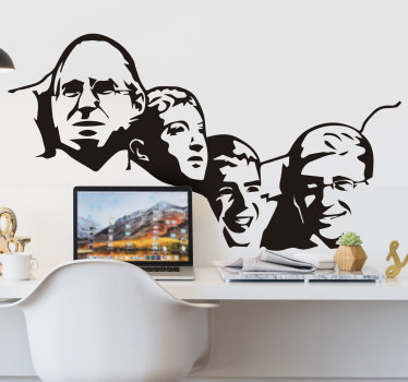 Buy our easy to apply Mount Rushmore geek character home wall decal to decorate the home with historical touch in any colour and size that you prefer.