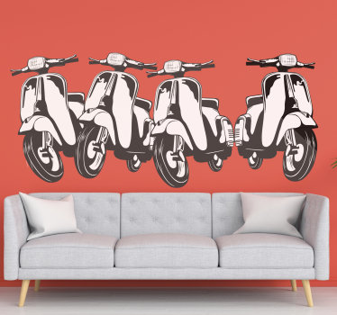 Easy to apply motorbike  wall decal design with wasps and you will love it on the wall surface. On the design are four bikes in a linear.