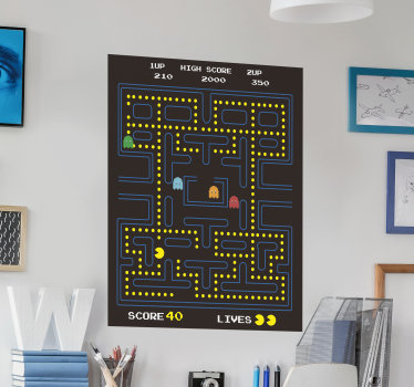 Easy to apply decorative wall vinyl decal of Pacman video games with all it features on it . It can be applied on any flat wall surface.