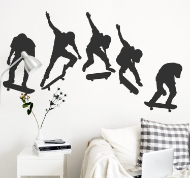 Vinilo decorativo para dormitorio de adolescentes de deporte de skater que muestra a 5 siluetas de un profesional saltando. Fácil de colocar.
