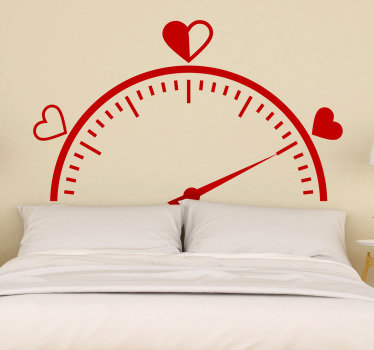 Tick tick says the clock! and we have this love tachometer headboard bedroom wall decal to decorate and  wake you up with love in the bedroom .