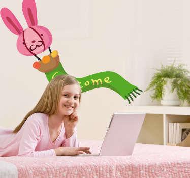 Pegatina infantil globo conejo welcome