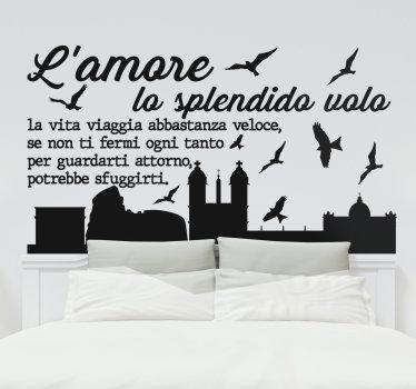 sticker  della testiera decorativa facile da applicare dello skyline di roma con la vista della sua caratteristica principale della chiesa e degli uccelli che volano intorno e citano