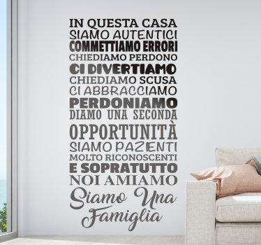 Adesivo decorativo facile da applicare con testo sulla famiglia che adorerai decorare il tuo muro a casa. Puoi esplorarlo in qualsiasi colore e dimensione.