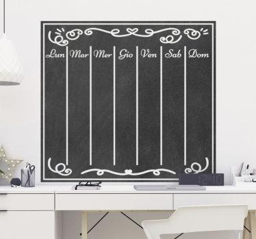 Adesivo da parete facile da applicare che puoi usare per scrivere qualsiasi cosa e organizzare la tua settimana. Puoi scrivere con il gesso e pulire a piacimento.