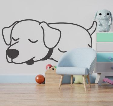 Einfach anzubringen kinderzimmer wandtattoo design eines hundes mit einer schönen ruhezeit und jedes kind würde es lieben. Es kann in jeder farbe und größe sein.