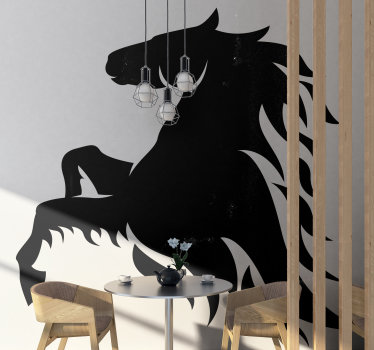 Buy our decorative wall vinyl decal of a giant  horse with flames that will make a beautiful decoration on the wall surface of the home in any colour.