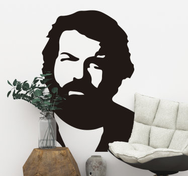 Apply our high quality vinyl wall sticker of movie character in the person of Bud Spencer in silhouette on the  wall surface at home. Chose the colour.
