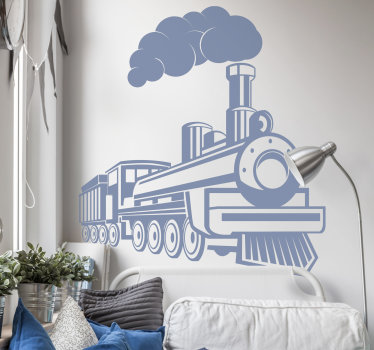 A decorative home wall decal of a steam locomotive with it stem engine and all visible parts in reveal. You can have the design in any colour.