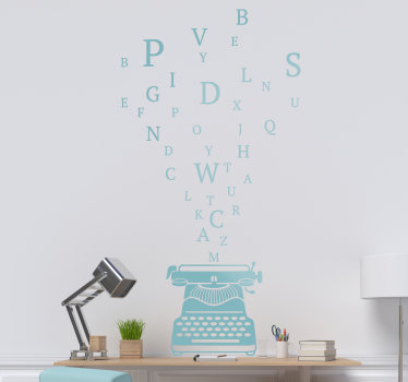 A home wall decal design of a type writer with imputed letters to decorate your ling room or bedroom , the design can be in any colour and size.