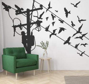 Buy our easy to apply and very decorative silhouette wall decal of a light pole with a person climbing it  and birds on the wire.