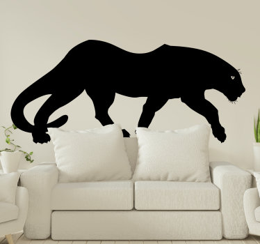 Easy to apply adhesive animal wall decal design of a big black panther to decorate the living or bedroom surface. It can be in any colour and size.