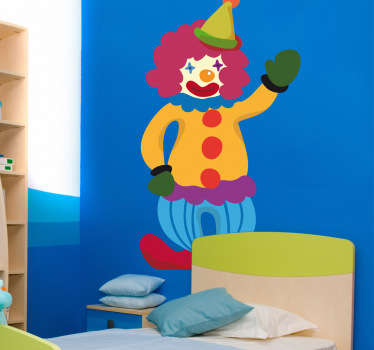 A brilliant kids wall sticker illustrating a friendly, happy and colourful clown to decorate your children's bedroom or play area.