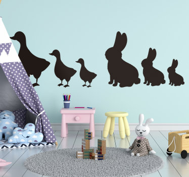 Buy our easy to apply wall decal of farm animal for infant bedroom, on the design are rabbits and goslings and you can have it in any colour and size.