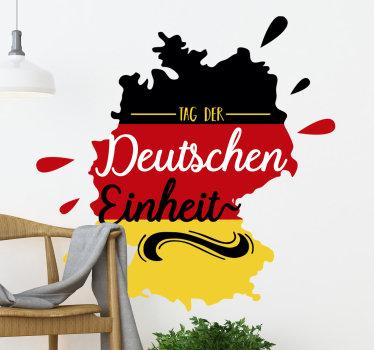 Ein dekorativer wand-vinyl-Aufkleber des Tages der Deutschen Einheit mit der deutschen flagge. Es enthält alle merkmale und symbolische darstellungen. Einfach auf ebener fläche aufzutragen.