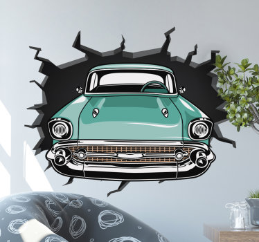 Easy to apply adhesive home wall decal of an original visual effect of a car driving through a wall. You can decorate any space with it in the home.