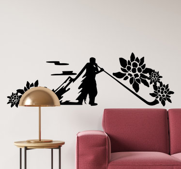 Dekorativer ruhige musikaufkleber kunst des traditionellen alphorns in der silhouette, um ihr wohnzimmer oder schlafzimmer zu verschönern. Einfach anzuwenden und sie können es in jeder farbe auswählen