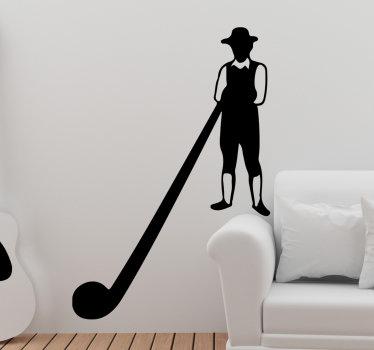 Einfach aufklebender selbstklebender wandaufkleber eines musikkünstlers mit einem musikinstrument im silhouette-stil, mit dem sie die gewünschte farbe bestimmen können.
