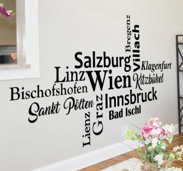 Einfach anzuwendender stadtwandaufkleber, der mit text in einem schönen schriftstil erstellt wurde, den sie an ihrer wand lieben werden. Sie können es in jeder farbe haben.