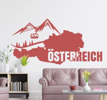 Einfach anzubringender wandtattoo vom Land Österreich, erstellt mit einer karte, einem berg und einem kabel, um den berg hinaufzugehen. Sie können dies in jeder farbe haben.