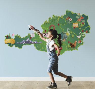 Einfach anzubringende dekorative und illustrative wandtattoo von österreich karte für kinderzimmer, die viele funktionen zur illustration und verschönerung enthält