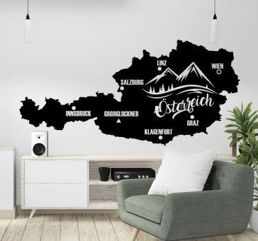 Einfach anzubringender wandtattoo der Karte von Österreich mit der eigenschaft eines berges darauf. Sie können das design in jeder farbe und größe haben.